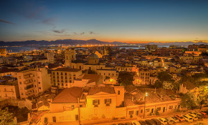 Old Town of Cagliari (Sardinia Island, Italy) in the sunset